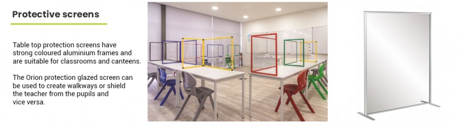 Glass and plastic screens for classrooms and schools