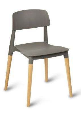 Jendo Poly Beech Chairs Grey Seat
