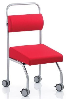 Jolly Back Chair In Red With A Chrome Frame