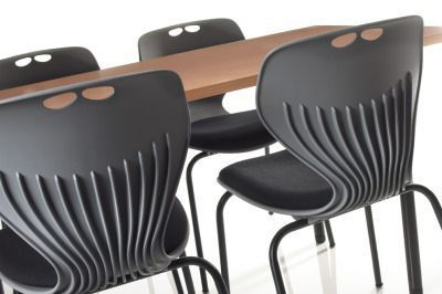 Matal Poly Multi Purpose Chair In Black Around A Table