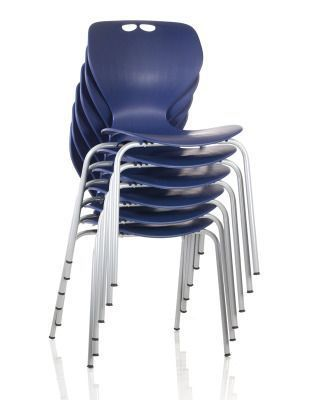 Matal Poly Multi Purpose Chair Stack In Blue And Chrome