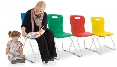Titan Poly Chairs With Skid Base Design In Multiple Colours With Student And Teacher