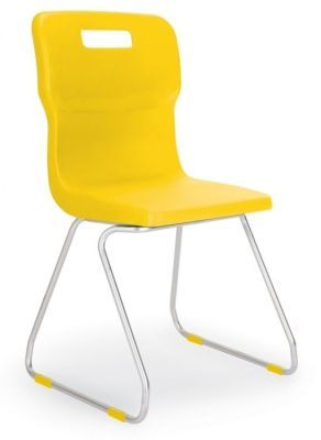 Titan Poly Chairs With Skid Base Design In Yellow