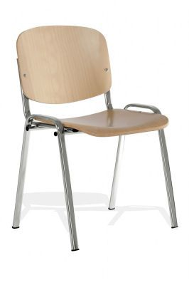 Iso Beech Meeting Chair With Chrome Frame And Padded Feet