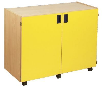 Smartie 24 Mobile Classroom Storage With Beech Carcass And Yellow Doors
