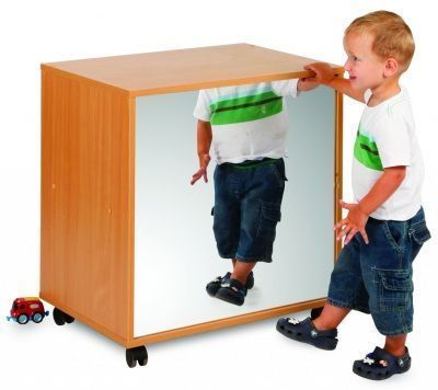 Draw, See And Store Shelving Unit With Mirrored Front
