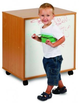 Draw, See And Store Shelving Unit With Whiteboard And Beech Carcass