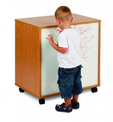 Draw, See And Store Shelving Unit With Whiteboard Front And Child Drawing