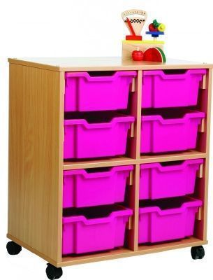 All Sorts Classroom Stackable Unit With 8 Deep Pink Trays