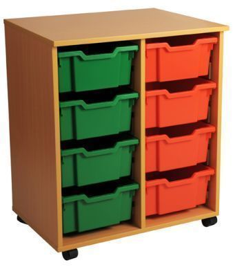 Aztec Double 4 High Deep Classroom Tray Storage Unit With Green And Red Drawers