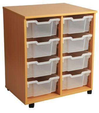 Aztec Double 4 High Deep Classroom Tray Storage Unit