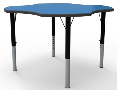Clover Height Adjustable Classroom Table In A Blue Top