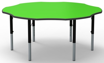 Flower Height Adjustable Classroom Table With A Green Top