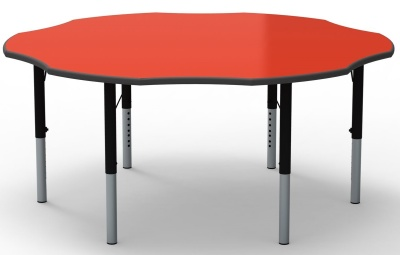 Flower Height Adjustable Table With A Red Top