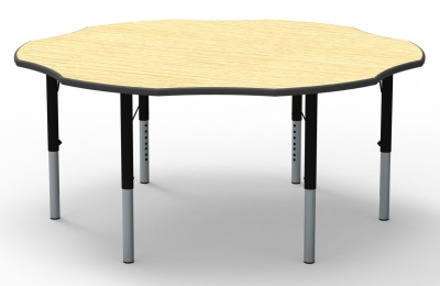 Flower Height Adjustable Classroom Table With A Maple Top