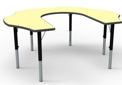 Teachers Flower Height Adjustable Table With A Pastel Yellow Top