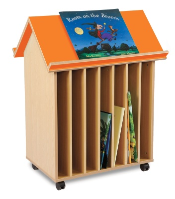 Book House For Large Papers With An Orange Roof