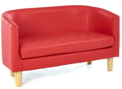 Tyrone Two Seater Sofa In Red Vinyl