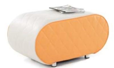 Sayu Small Elliptical Bench Orange And Light Grey