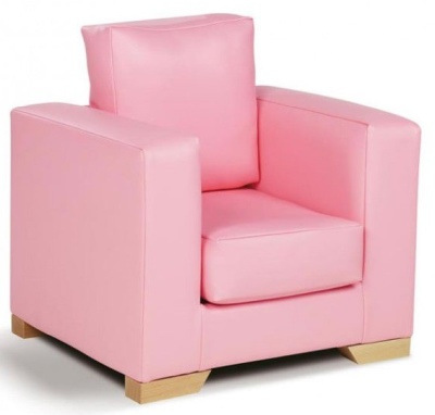 Roma Pink Faux Leather Arm Chair