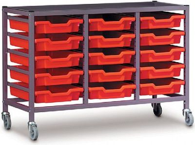 Gratnells Triple Bay Storage Trolley With Fifteen Shallow Trays