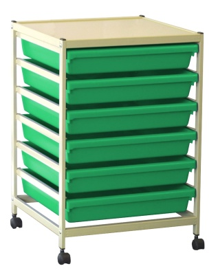 Gratnells A3 Paper Troley With Green Trays