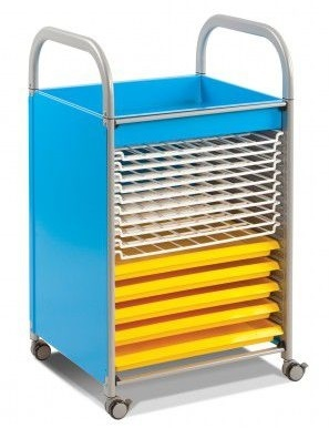 Callero Art Tray Trolley With Drying Racks In Cyan Blue