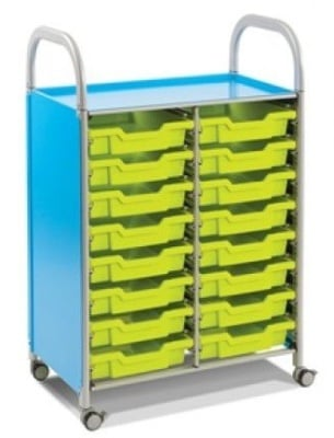 Callero Storage Trolley With 16 Trays Cyan Blue Trim
