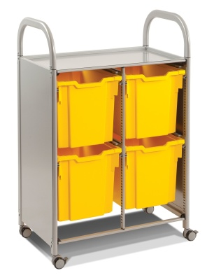 Callero Trolley With Four Jumbon Trays - Silver