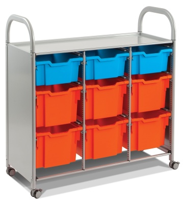 Callero Classroom Trolley In Silver With Deep And Extra Deep Trays