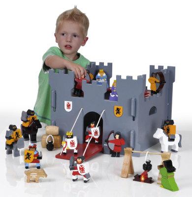 Wooden Medieval Castle & Figure Set