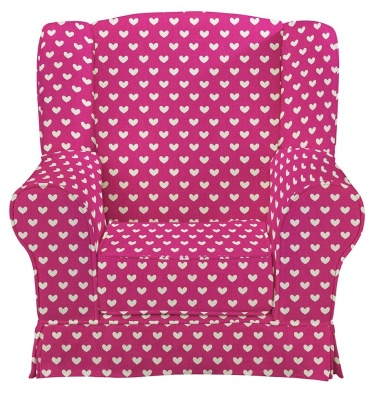 JK Pink Hearts Wing Chair