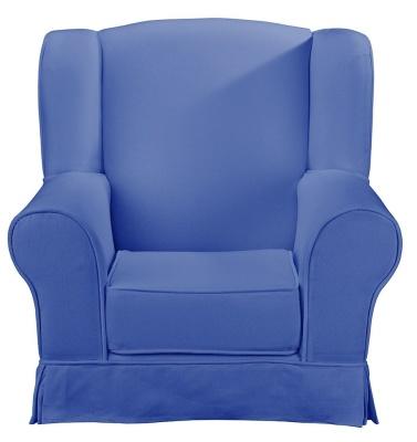 JK Plain BLue Wing Chair