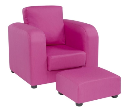 Plain Pink Arm Chair And Footstool 1