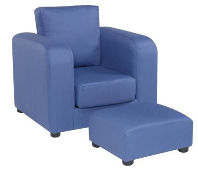JK Plain Blue Armchair And Footstool