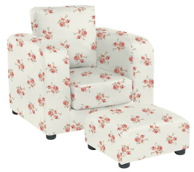 JK Rose Natural Armchair And Footstool
