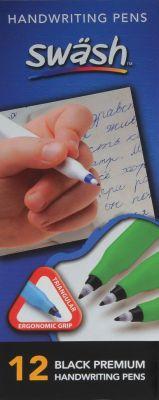 12 Komfigrip Black Handwriting Pens