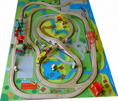 Wooden Railway Playmat Features Toy