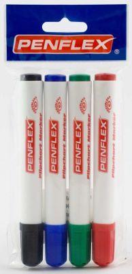 Penflex Flipchart Markers - 4 Pack