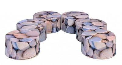 Set Of 6 Pebble Themed Pouffes