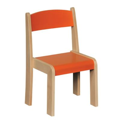 JS Wood Primary Chairs (4 Pack) Orange