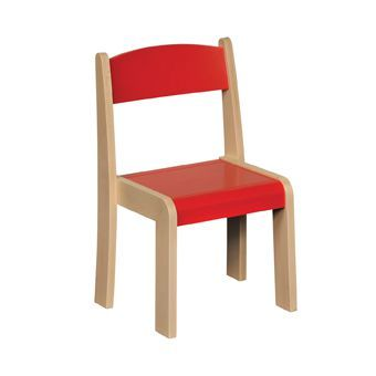 JS Wood Primary Chairs (4 Pack) Red