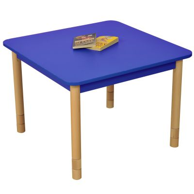 JS Height Adjustable Square Coloured Classroom Table Blue