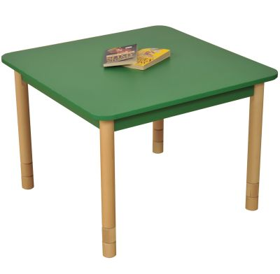 JS Height Adjustable Square Coloured Classroom Table Green