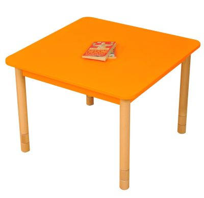 JS Height Adjustable Square Coloured Classroom Table Orange
