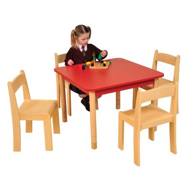JS Height Adjustable Square Coloured Classroom Table Red