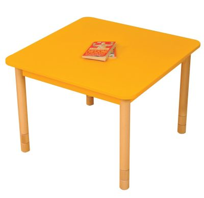 JS Height Adjustable Square Coloured Classroom Table Yellow