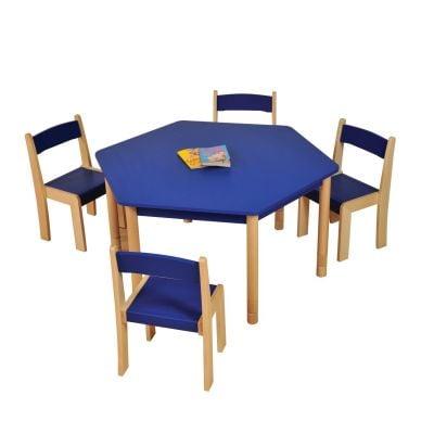 JS Height Adjustable Hexagon Coloured Classroom Table Blue
