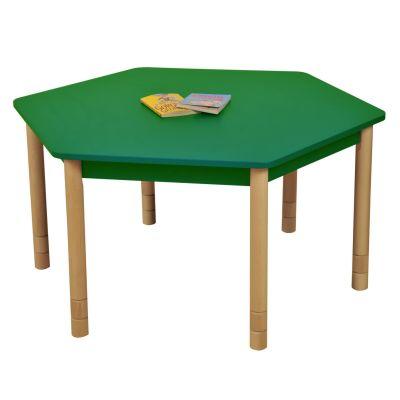 JS Height Adjustable Hexagon Coloured Classroom Table Green
