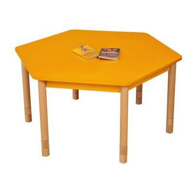 JS Height Adjustable Hexagon Coloured Classroom Table Orange